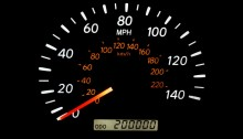 Photo of odometer at 200,000 miles