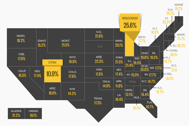 U.S. map showing state by state binge drinking rates