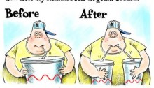 Cartoon showing obese youngster before and after the large soda ban in New York City.