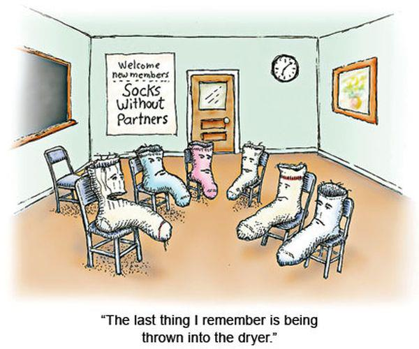 Lost socks in a group therapy session.