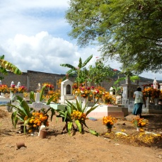 The cemetery at San Pedro del Rincón - monuments decorated with marigolds and red flowers.
