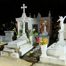 Night scene of monuments decorated with bouquets of marigolds and lillies in the main cemetery in the city of Oaxaca.