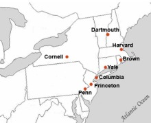 A map showing the location of the Ivy League schools