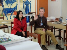 Professor Michael Flanagan and Claudia Mejia, Interpreter.