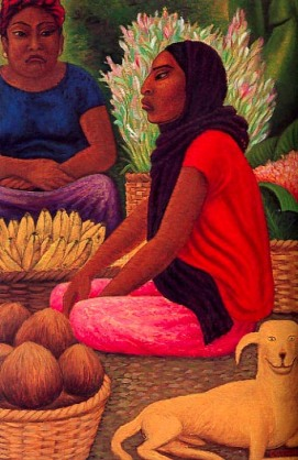 Vendors of bananas and coconuts in a Oaxaca market.