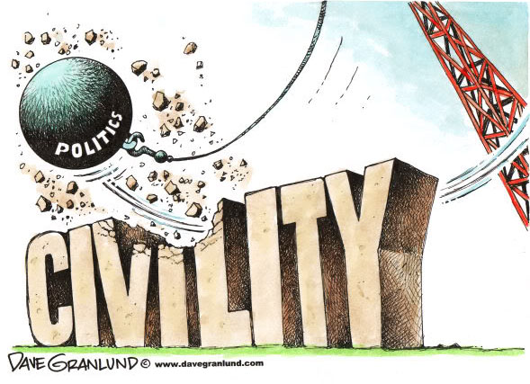 """Wrecking ball labeled """"politics"""" destroying a monument to civility"""