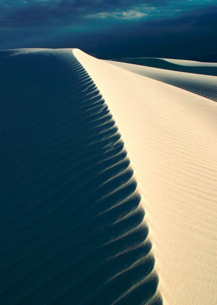 Looking lengthways down a long dune ridge