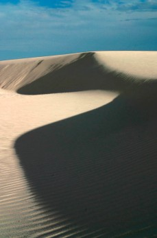 Mid-afternoon dunes with deep shadows