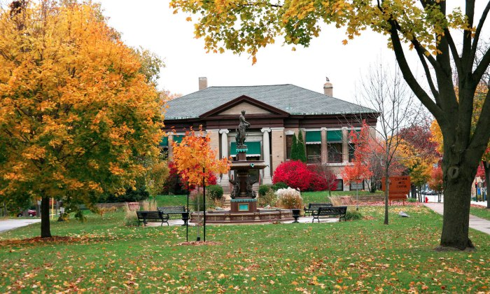 Fall colors at the Cultural Arts Center in Whitewater, Wisconsin