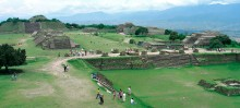 View of archaeological ruins at Monte Albán near the city of Oaxaca