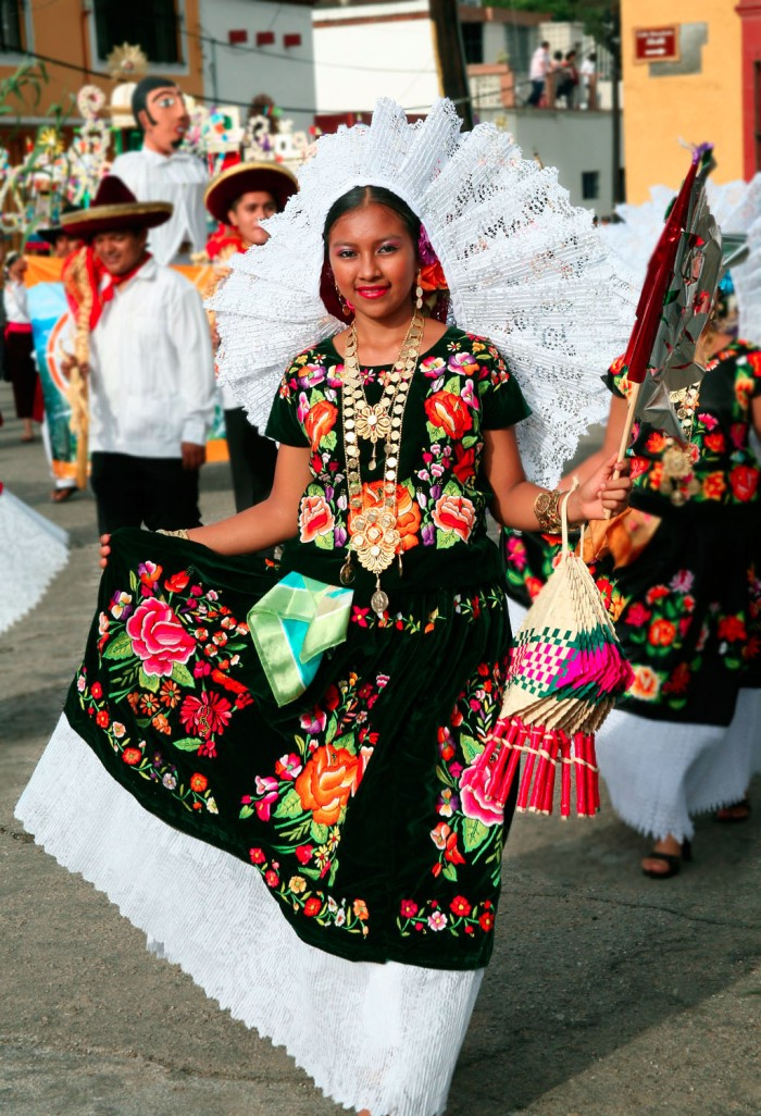 Young woman wearing the traditional festive dress of Juchitán, Oaxaca.
