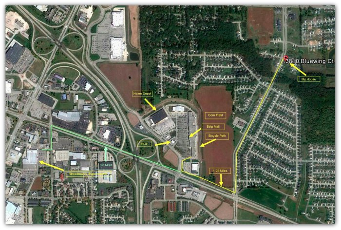 Map showing roads and businesses in a small part of Janesville, Wisconsin.