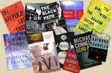A collection of crime fiction book covers displayed as a collage