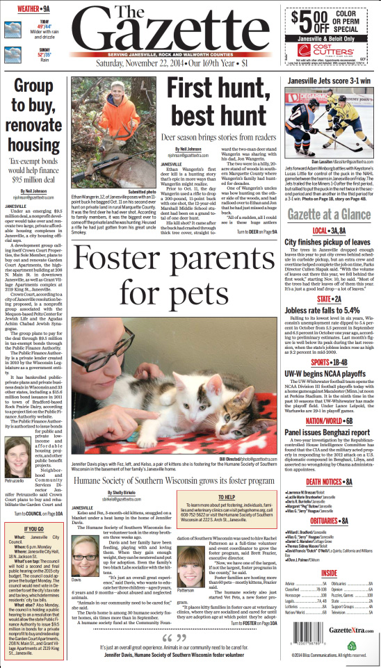 Janesville Gazette - Frontpage, November 22, 2014