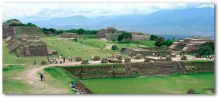 Panoramic view of the archaeological reconstruction at Monte Albán