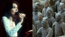 Split image: Karen Carpenter in performance on one side and a close-up of terracotta warriors on the other